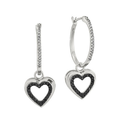 1/3 CT. T.W. White and Color-Enhanced Black Diamond Sterling Silver Heart Hoop Earrings