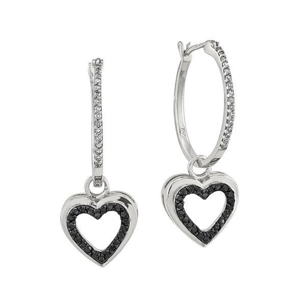 Fine Jewelry 1/3 CT. T.W. White & Color-Enhanced Black Diamond Sterling Silver Earrings pxzPddVelG