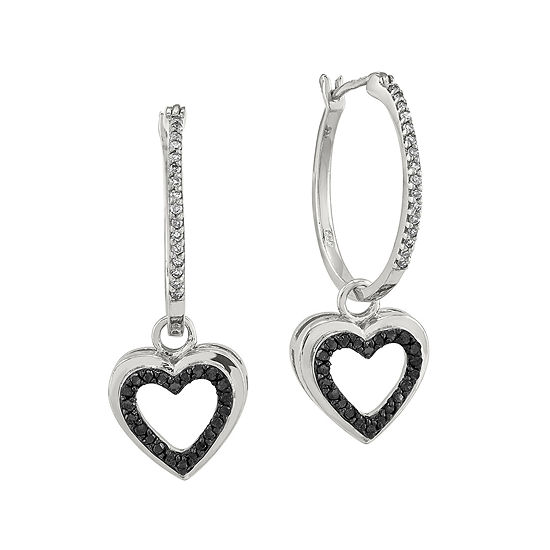 1 3 Ct Tw White And Color Enhanced Black Diamond Sterling Silver Heart Hoop Earrings