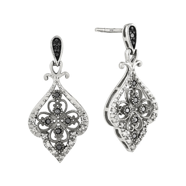 1/4 CT. T.W. White and Color-Enhanced Black Diamond Sterling Silver Filigree Drop Earrings