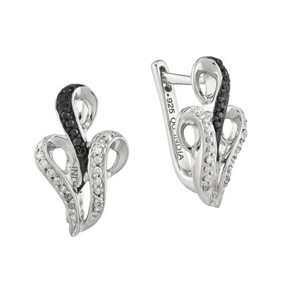 1/5 CT. T.W. White and Color-Enhanced Black Diamond Sterling Silver Hinged Earrings