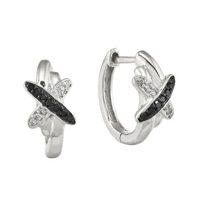 1/10 CT. T.W. White and Color-Enhanced Black Diamond Sterling Silver Hoop Earrings
