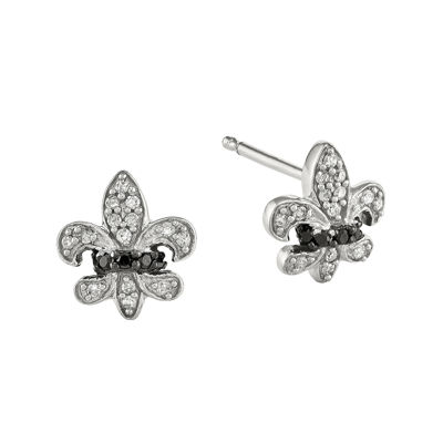 1/6 CT. T.W. White and Color-Enhanced Black Diamond Sterling Silver Fleur De Lis Post Earrings