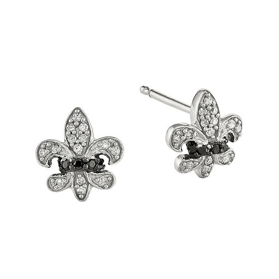 1/6 CT. T.W. White and Color-Enhanced Black Diamond Sterling Silver Fleur De Lis Post Earrings