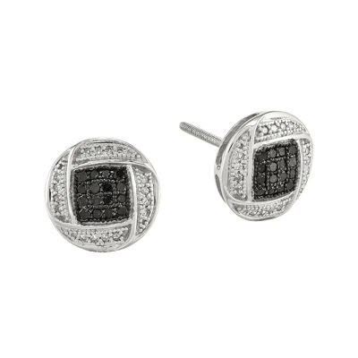1/3 CT. T.W. White and Color-Enhanced Black Diamond Sterling Silver Circle Post Earrings