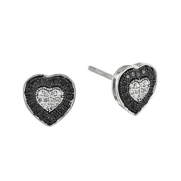 1/4 CT. T.W. White and Color-Enhanced Black Diamond Sterling Silver Heart Post Earrings