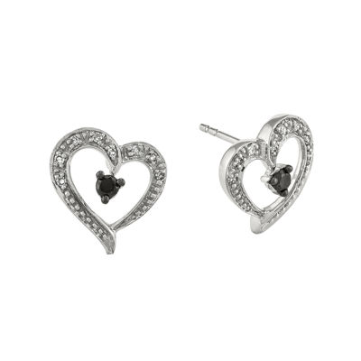 1/6 CT. T.W. White and Color-Enhanced Black Diamond Sterling Silver Heart Post Earrings