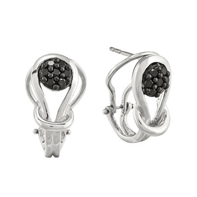 1/4 CT. T.W. Color-Enhanced Black Diamond Sterling Silver Love Knot Post Earrings