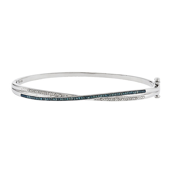 1/4 CT. T.W. White and Color-Enhanced Blue Diamond Sterling Silver Bangle Bracelet