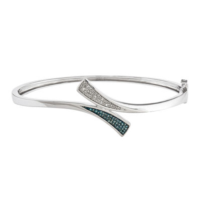 1/5 CT. T.W. White and Color-Enhanced Blue Diamond Sterling Silver Bangle Bracelet