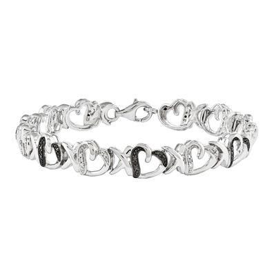 1/10 CT. T.W. White and Color-Enhanced Black Diamond Sterling Silver Tennis Bracelet