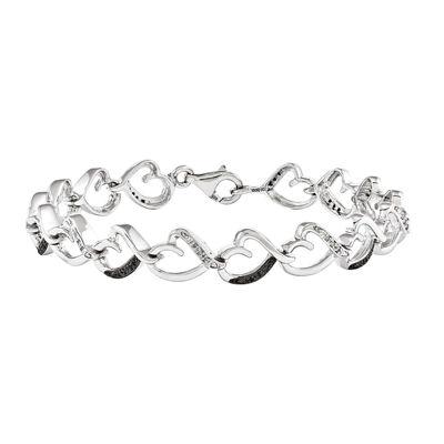 1/6 CT. T.W. White and Color-Enhanced Black Diamond Sterling Silver Tennis Bracelet
