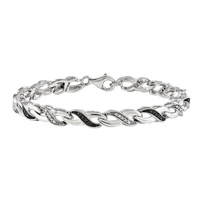1/4 CT. T.W. White and Color-Enhanced Black Diamond Sterling Silver Tennis Bracelet