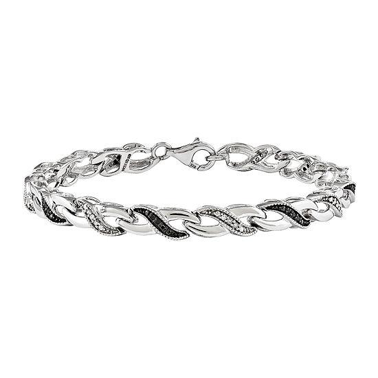 1/4 CT. T.W. White and Color-Enhanced Black Diamond Sterling Silver Tennis Bracelet
