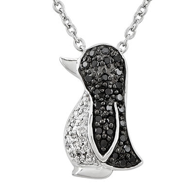 1/7 CT. T.W. White and Color-Enhanced Black Diamond Sterling Silver Penguin Pendant Necklace
