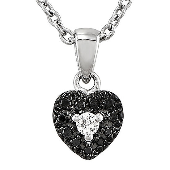 1 10 Ct Tw White And Color Enhanced Black Diamond Sterling Silver Heart Pendant Necklace