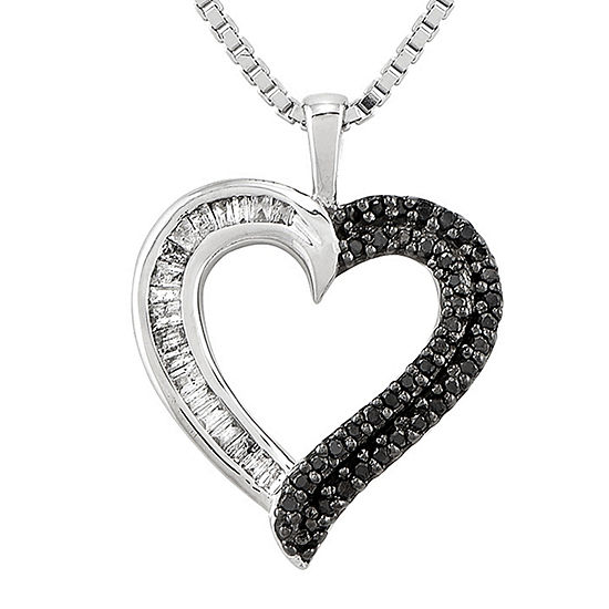 1/4 CT. T.W. White and Color-Enhanced Black Diamond Sterling Silver Heart Pendant Necklace