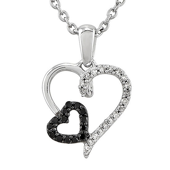 1/10 CT. T.W. White and Color-Enhanced Black Diamond Sterling Silver Double Heart Pendant Necklace