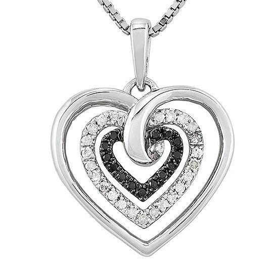 1/4 CT. T.W. White & Color-Enhanced Black Diamond Sterling Silver Heart Pendant