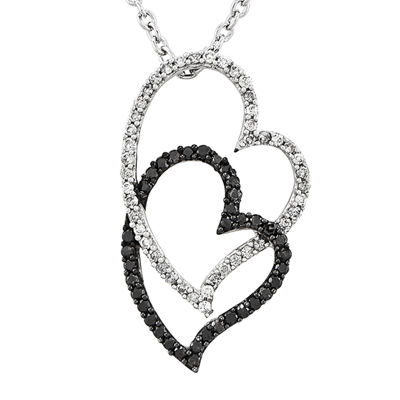 3/8 CT. T.W. White and Color-Enhanced Black Diamond Sterling Silver Double Heart Pendant Necklace