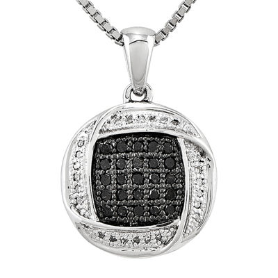 1/5 CT. T.W. White and Color-Enhanced Black Diamond Pendant Necklace