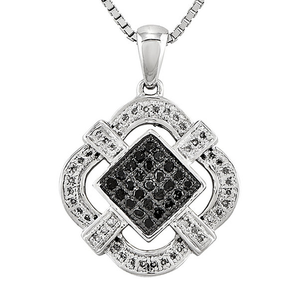 1/3 CT. T.W. White and Color-Enhanced Black Diamond Pendant Necklace