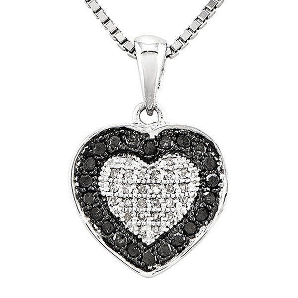 13 ct tw white and color enhanced black diamond heart pendant tw white and color enhanced black diamond heart pendant necklace mozeypictures Images