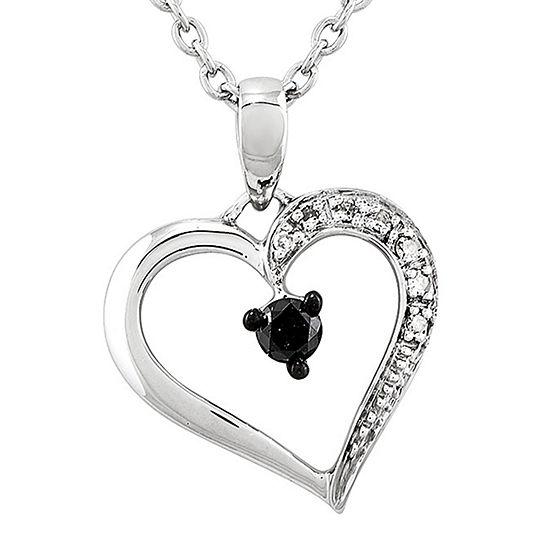 1/8 CT. T.W. White and Color-Enhanced Black Diamond Heart Pendant Necklace