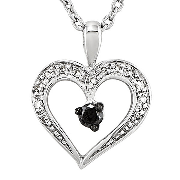 16 ct tw white and color enhanced black diamond heart pendant tw white and color enhanced black diamond heart pendant necklace aloadofball Image collections