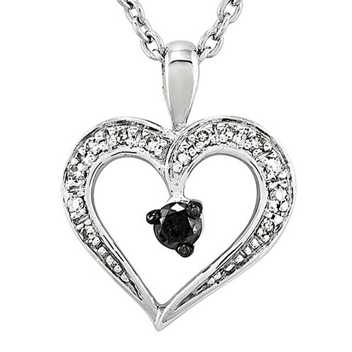 1/6 CT. T.W. White and Color-Enhanced Black Diamond Heart Pendant Necklace