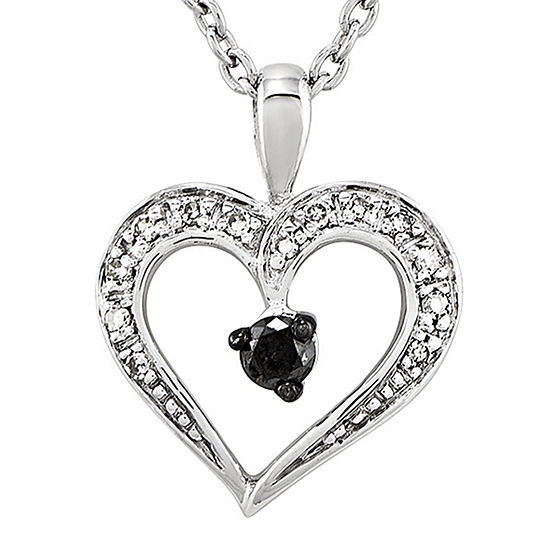 1 6 Ct Tw White And Color Enhanced Black Diamond Heart Pendant Necklace