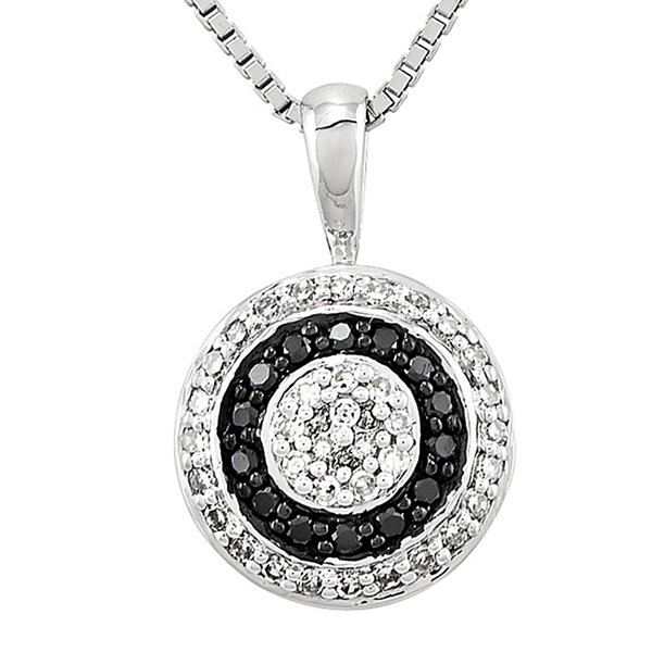 1/3 CT. T.W. White and Color-Enhanced Black Diamond Circle Pendant Necklace