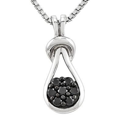 1/5 CT. T.W. Color-Enhanced Black Diamond Love Knot Pendant Necklace