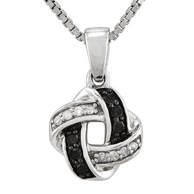 1/8 CT. T.W. White and Color-Enhanced Black Diamond Sterling Silver Celtic Knot Pendant Necklace