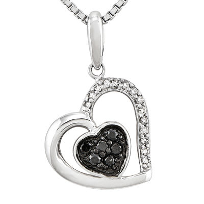 1/6 CT. T.W. White and Color-Enhanced Black Diamond Sterling Silver Heart Pendant Necklace