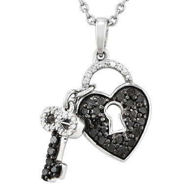 1/2 CT. T.W. White and Color-Enhanced Black Diamond Sterling Silver Key to My Heart Pendant Necklace
