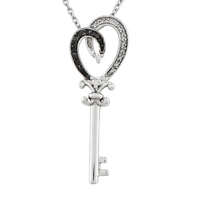 1/8 CT. T.W. White and Color-Enhanced Black Diamond Sterling Silver Key Pendant Necklace
