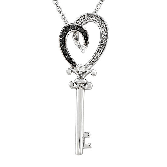1 8 Ct Tw White And Color Enhanced Black Diamond Sterling Silver Key Pendant Necklace