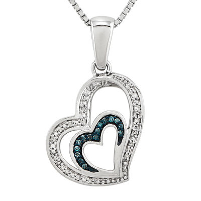 1/10 CT. T.W. White and Color-Enhanced Blue Diamond Double Heart Necklace