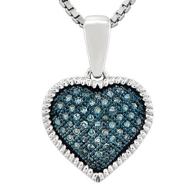 1/7 CT. T.W. Color-Enhanced Blue Diamond Double Heart Pendant Necklace
