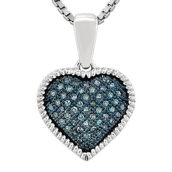 1 7 Ct Tw Color Enhanced Blue Diamond Double Heart Pendant Necklace