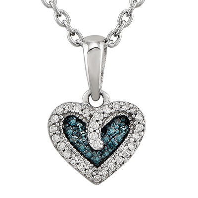 Fine Jewelry 1/10 CT. T.W. White and Color-Enhanced Blue Diamond Double Heart Necklace
