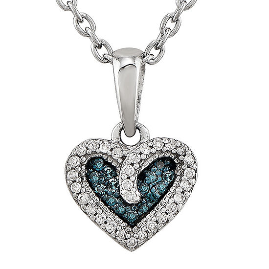 1/10 CT. T.W. White and Color-Enhanced Blue Diamond Heart Pendant Necklace