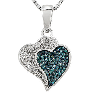 1/3 CT. T.W. White and Color-Enhanced Blue Diamond Double Heart Necklace