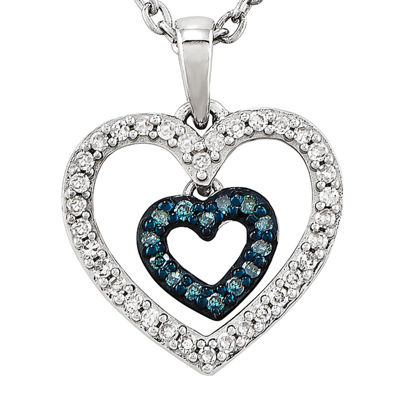 1/6 CT. T.W. White and Color-Enhanced Blue Diamond Double Heart Necklace