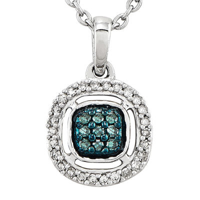 1/5 CT. T.W. White and Color-Enhanced Blue Diamond Sterling Silver Fashion Pendant Necklace