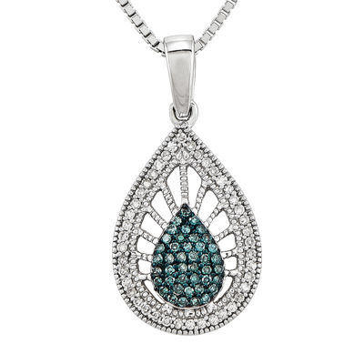 1/4 CT. T.W. White and Color-Enhanced Blue Diamond Sterling Silver Teardrop Pendant Necklace