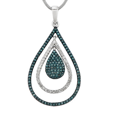 1/2 CT. T.W. White and Color-Enhanced Blue Diamond Sterling Silver Teardrop Pendant Necklace