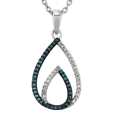 1/7 CT. T.W. White and Color-Enhanced Blue Diamond Sterling Silver Teardrop Pendant Necklace