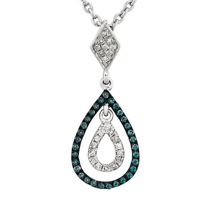 1/5 CT. T.W. White and Color-Enhanced Blue Diamond Sterling Silver Teardrop Pendant Necklace